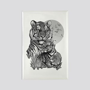 Tiger and Cub (B/W) Rectangle Magnet