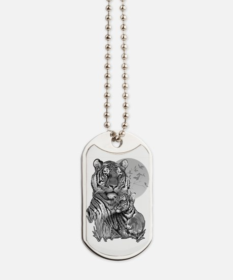 Tiger and Cub (B/W) Dog Tags