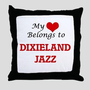 My heart belongs to Dixieland Jazz Throw Pillow