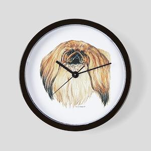 Pekingese Dog Portrait Wall Clock