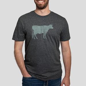 Cow: Chalky Blue Mens Tri-blend T-Shirt