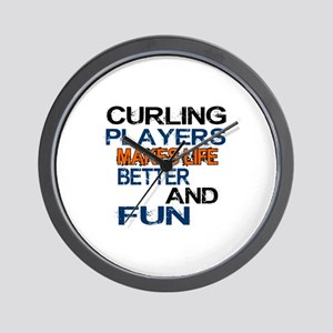 Curling Players Makes Life Better And F Wall Clock