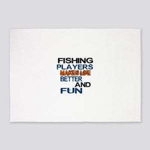 Fishing Players Makes Life Better A 5'x7'Area Rug