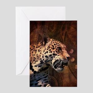 safari animal wild leopard Greeting Cards