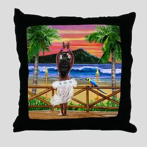 Hawaiian Sunset Hula Dancer Throw Pillow