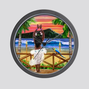Hawaiian Sunset Hula Dancer Wall Clock