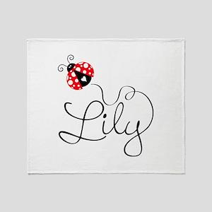 Ladybug Lily Throw Blanket