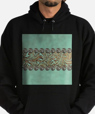 teal western tooled leather Sweatshirt