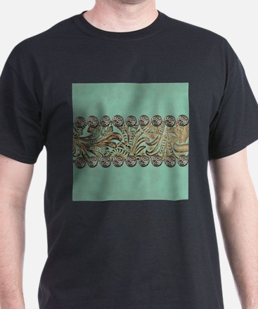 teal western tooled leather T-Shirt