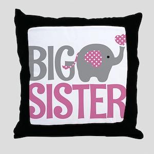 Elephant Big Sister Throw Pillow