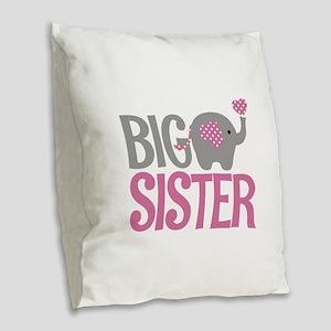 Elephant Big Sister Burlap Throw Pillow
