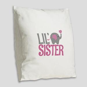 Elephant Little Sister Burlap Throw Pillow