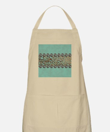 teal western tooled leather Apron