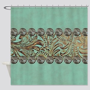 teal western tooled leather Shower Curtain