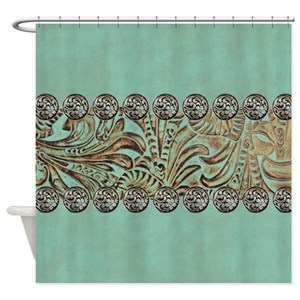 Tooled Leather Pattern Shower Curtains