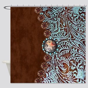 Turquoise And Brown Shower Curtains