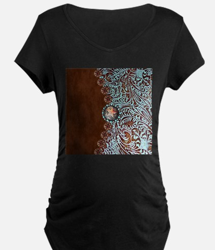 Western turquoise tooled leather Maternity T-Shirt
