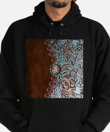 Western turquoise tooled leather Sweatshirt