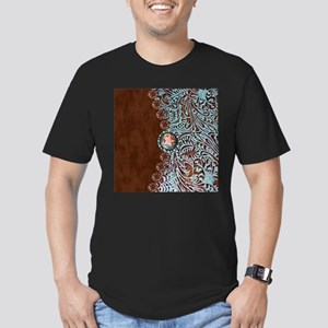 Western turquoise tooled leather T-Shirt