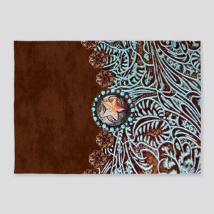 Western Turquoise Tooled Leather 5 X7 Area Rug
