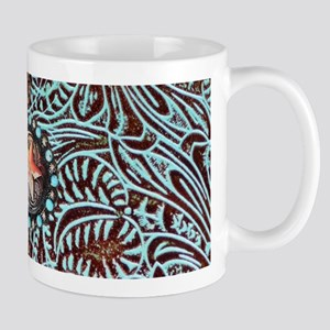 Western turquoise tooled leather Mugs