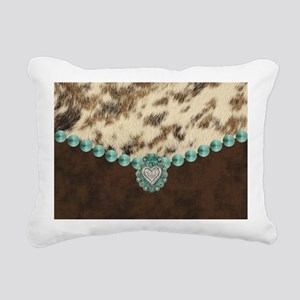 cow hide western leather Rectangular Canvas Pillow