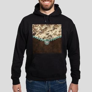 cow hide western leather Sweatshirt