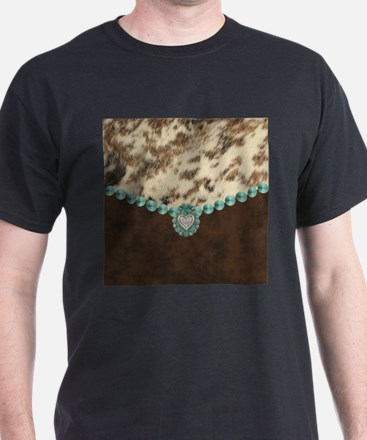 cow hide western leather T-Shirt