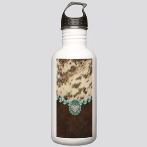 cow hide western leath Stainless Water Bottle 1.0L