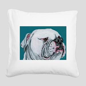 American Bulldog Square Canvas Pillow
