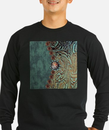 Country Western turquoise leat Long Sleeve T-Shirt