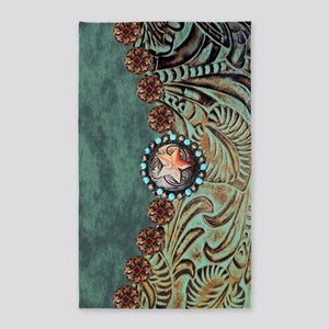 Country Western turquoise leather Area Rug