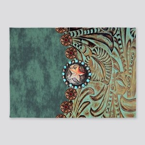 Country Western turquoise leather 5'x7'Area Rug