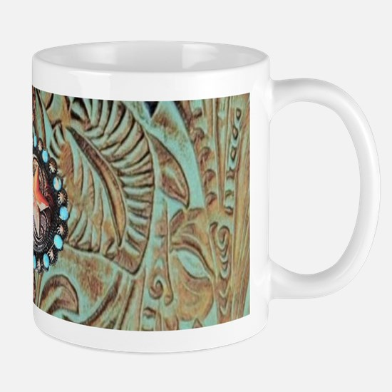 Country Western turquoise leather Mugs