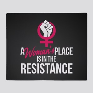 Womans Place in Resistance Throw Blanket
