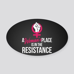 Womans Place in Resistance Oval Car Magnet