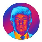 Pop Art President Trump Round Car Magnet