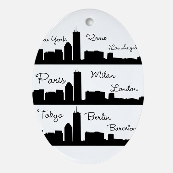 Fashion Capitals of the World Oval Ornament