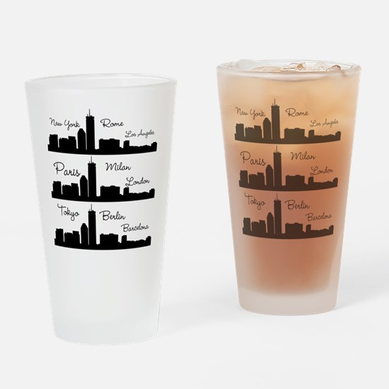 Fashion Capitals of the World Drinking Glass