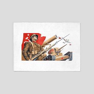 WWii soviet union propaganda 5'x7'Area Rug