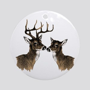 Buck and Doe Round Ornament