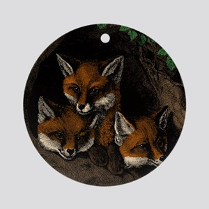 Baby Foxes Round Ornament