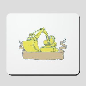 Mechanical Digger Excavator Ribbon Scroll Drawing
