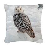 Snowy Owl Woven Throw Pillow