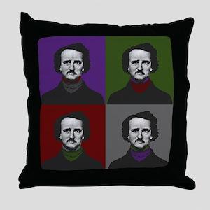 Edgar Allan Poe Warhol Throw Pillow