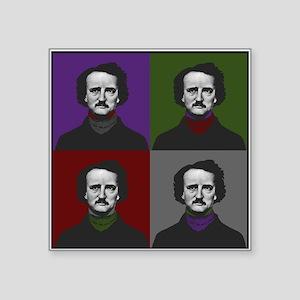"Edgar Allan Poe Warhol Square Sticker 3"" x 3"""