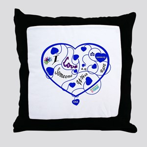 OAA Love Someone Who is Rare Blue Throw Pillow
