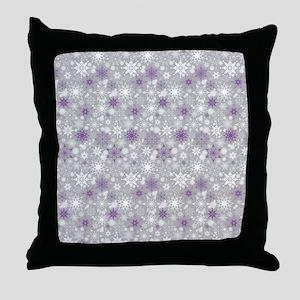 Amethyst Snowscape Throw Pillow