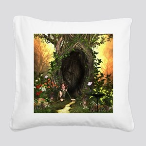 Cute, funny fairy in the wonderland Square Canvas