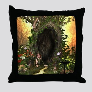 Cute, funny fairy in the wonderland Throw Pillow